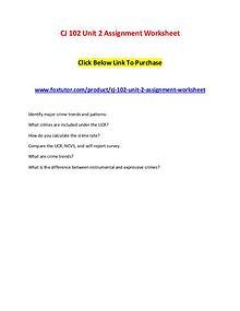 CJ 102 Unit 2 Assignment Worksheet