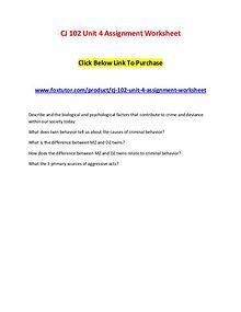 CJ 102 Unit 4 Assignment Worksheet