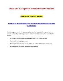 CJ 130 Unit 2 Assignment Introduction to Corrections