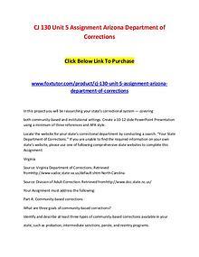 CJ 130 Unit 5 Assignment Arizona Department of Corrections