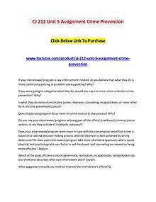CJ 212 Unit 5 Assignment Crime Prevention