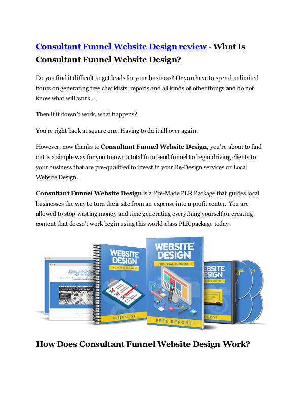 Marketing Consultant Funnel Website Design reviews and Bonus
