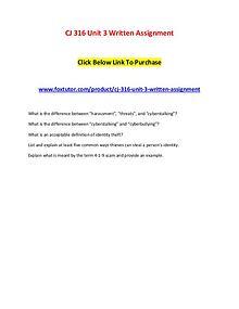 CJ 316 Unit 3 Written Assignment
