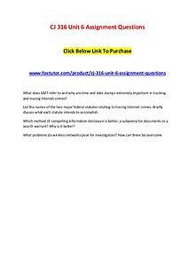 CJ 316 Unit 6 Assignment Questions