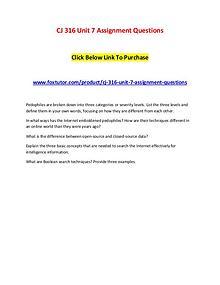 CJ 316 Unit 7 Assignment Questions