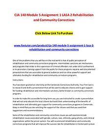 CJA 140 Module 5 Assignment 1 LASA 2 Rehabilitation and Community Cor