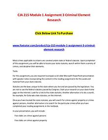 CJA 215 Module 1 Assignment 3 Criminal Element Research