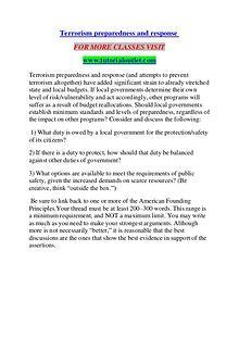 TERRORISM PREPAREDNESS AND RESPONSE / TUTORIALOUTLET DOT COM