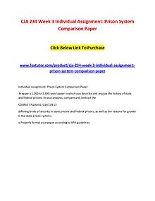 CJA 234 Week 3 Individual Assignment Prison System Comparison Paper
