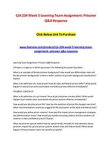 CJA 234 Week 5 Learning Team Assignment Prisoner Q&A Response