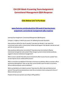 CJA 234 Week 4 Learning Team Assignment Correctional Management Q&A R