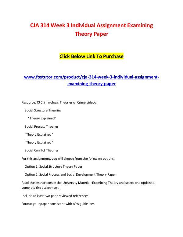 CJA 314 Week 3 Individual Assignment Examining Theory Paper CJA 314 Week 3 Individual Assignment Examining The