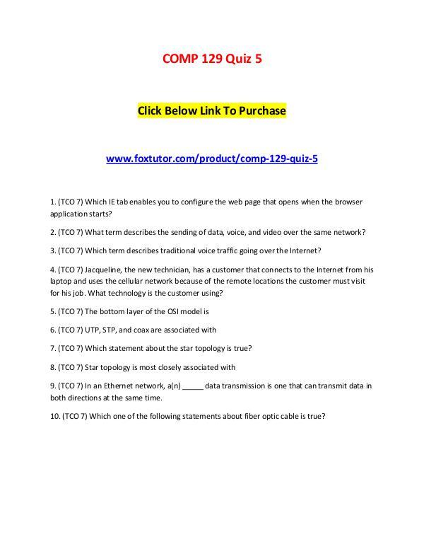 COMP 129 Quiz 5 COMP 129 Quiz 5