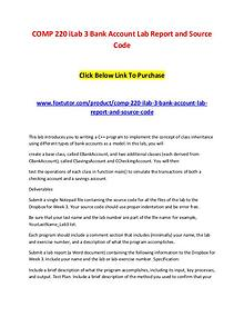 COMP 220 iLab 3 Bank Account Lab Report and Source Code