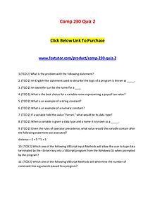 Comp 230 Quiz 2