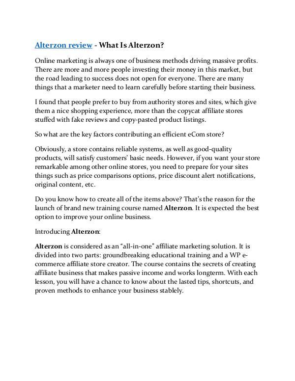 Marketing Alterzon review in particular - Alterzon bonus