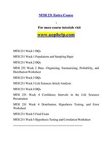 MTH 231 help Successful Learning/uophelp.com