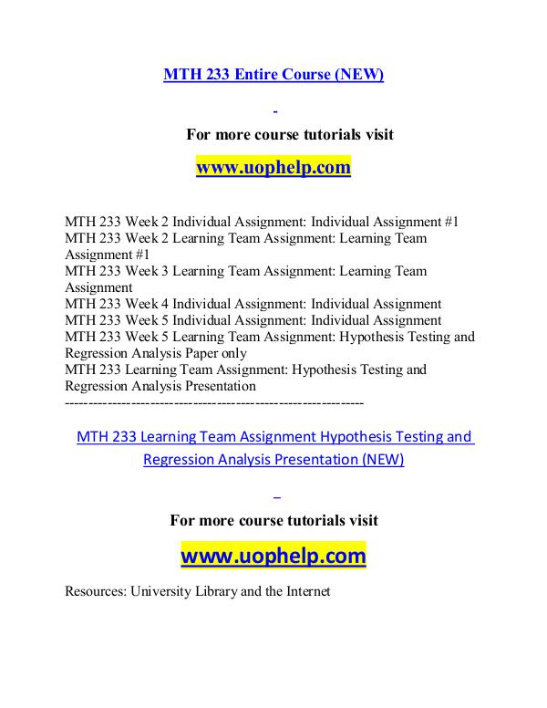 MTH 233 (NEW) help Successful Learning/uophelp.com MTH 233 (NEW) help Successful Learning/uophelp.com