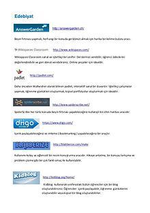 Derslere göre Web.2 Araçları