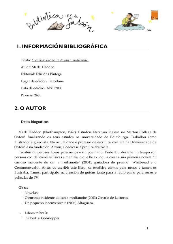 Ficha: O curioso incidente do can a medianoite FICHA_ELCURIOSOINCIDENTEPERROMEDIANOCHE