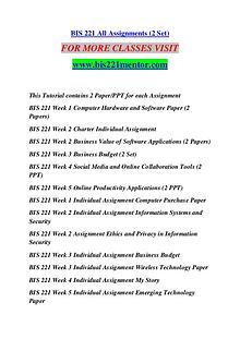 BIS 221 MENTOR Extraordinary Success /bis221mentor.com