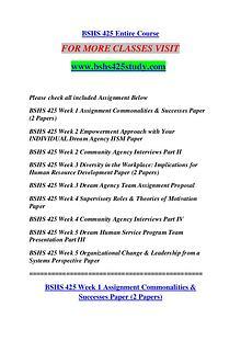 BSHS 425 STUDY Extraordinary Success /bshs425study.com