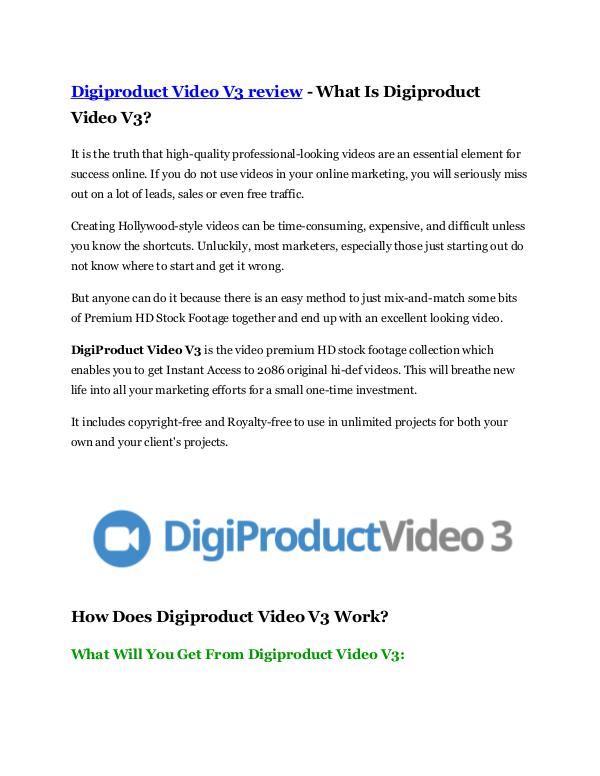 Digiproduct Video V3 review and (FREE) Digiproduct