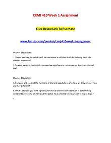 CRMJ 410 Week 1 Assignment