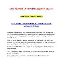 CRMJ 415 Week 5 Homework Assignment Deviance