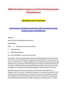 CRMJ 415 Week 5 Assignment Critical Thinking Analysis-Whistleblowers