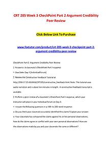 CRT 205 Week 3 CheckPoint Part 2 Argument Credibility Peer Review