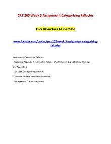 CRT 205 Week 5 Assignment Categorizing Fallacies