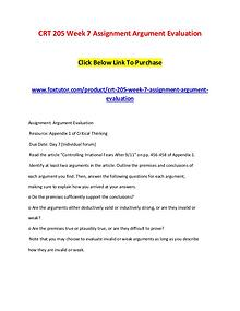 CRT 205 Week 7 Assignment Argument Evaluation