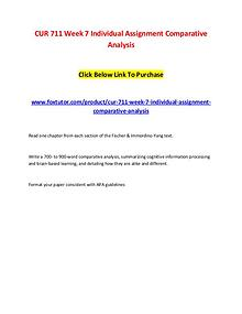CUR 711 Week 7 Individual Assignment Comparative Analysis