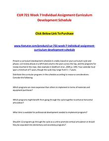 CUR 721 Week 7 Individual Assignment Curriculum Development Schedule