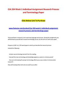 CJA 334 Week 1 Individual Assignment Research Process and Terminology