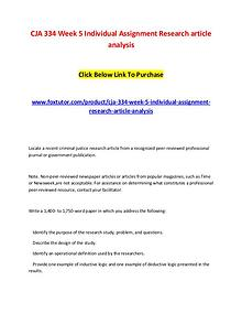 CJA 334 Week 5 Individual Assignment Research article analysis