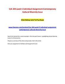 CJA 344 week 5 Individual Assignment Contemporary Cultural Diversity