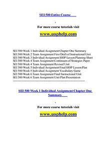 SEI 500 help A Guide to career/uophelp.com