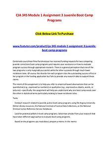 CJA 345 Module 1 Assignment 3 Juvenile Boot Camp Programs