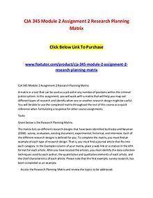 CJA 345 Module 2 Assignment 2 Research Planning Matrix