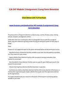 CJA 347 Module 2 Assignment 2 Long-Term Detention