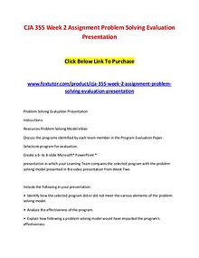 CJA 355 Week 2 Assignment Problem Solving Evaluation Presentation