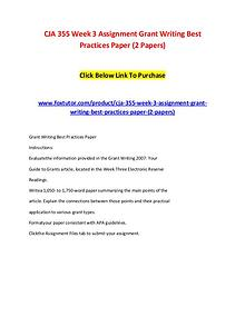 CJA 355 Week 3 Assignment Grant Writing Best Practices Paper (2 Paper
