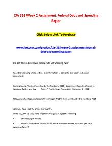 CJA 365 Week 2 Assignment Federal Debt and Spending Paper