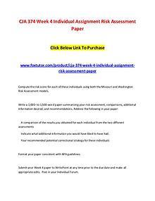 CJA 374 Week 4 Individual Assignment Risk Assessment Paper