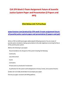 CJA 374 Week 5 Team Assignment Future of Juvenile Justice System Pape