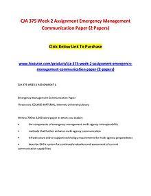 CJA 375 Week 2 Assignment Emergency Management Communication Paper (2