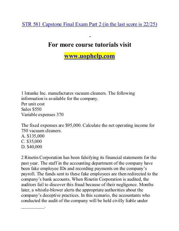STR 581 help A Guide to career/uophelp.com STR 581 help A Guide to career/uophelp.com
