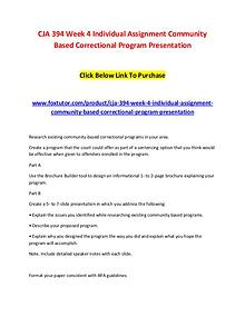 CJA 394 Week 4 Individual Assignment Community Based Correctional Pro